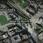Google earth view showing the 3 locations of shootings in downtown Ottawa this morning -- all remain on lockdown http://t.co/NsQ1zPwuxe