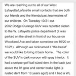 Please help the Mann family retrieve their stolen Durango.... The pack has memories that were made in that car ???? http://t.co/2LIJLekWaF