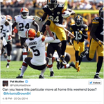 RT @ESPNNFL: Colts punter @PatMcAfeeShow politely asked Antonio Brown not to kick him in the face Sunday » http://t.co/PCDfopMwl8 http://t.co/tKpRg9H2Jh
