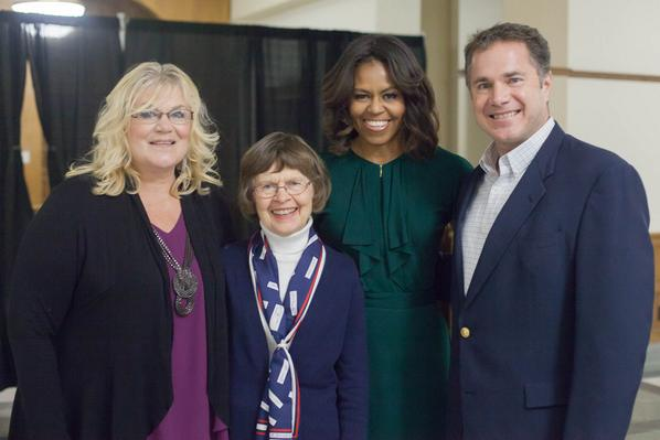 Welcoming @FLOTUS to Iowa with my sister, Brenda & my Mom. @UIowa #IowaVotes rally @TeamBraley #13days http://t.co/7pmHsHpN0w