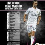 Our starting XI against Liverpool exclusively on Twitter! #LIVvsRealMadrid #RMLive http://t.co/A4wer0M6gE