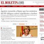 RT @EsppeonzAguirre: Hasta incluso Aguirre recuerda a Rajoy que los estatutos del PP obligan a abrir expediente a Acebes http://t.co/YO8KLqZHAh