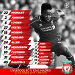 RT @LFC: Confirmed: #LFC's starting line-up and substitutes v @realmadrid http://t.co/hAo8q1tCvO