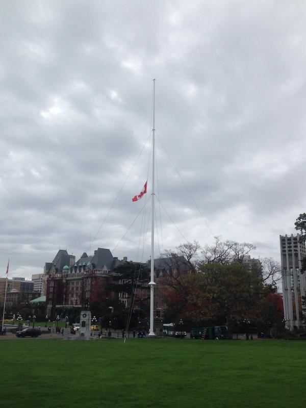 Flag lowered to half-mast at #bcleg to mark death of soldier in #Ottawa. http://t.co/tDX2e6k15D