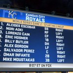 RT @MLBNetwork: Here is the Game Two lineup for the @Royals. #MLBNow #WorldSeries http://t.co/yuMiopn6B4