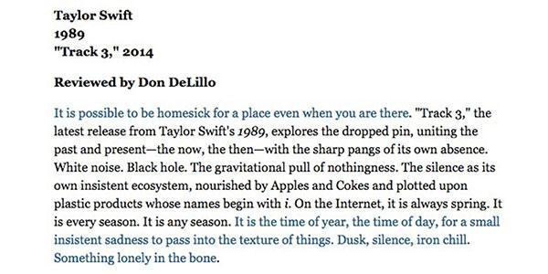 "Padma Lakshmi @padmalakshmi: RT @TheAtlantic: Don DeLillo, the author of ""White Noise,"" reviews Taylor Swift, the artist of ""White Noise"" http://t.co/uZQz3yeNth http://…"
