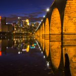 The Stone Arch Bridge over the Mississippi in #Minneapolis at night. http://t.co/ViOH0vGs0W