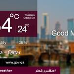 RT @HukoomiQatar: Todays highest temp: 34ºC, lowest temp: 24ºC and humidity: 38%. #Hukoomi #Qatar #DohaWeather http://t.co/Px6qYZJiiW