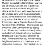 Message from Toronto Police to Imams and Mosques in wake of #OttawaShootings: http://t.co/U5YZltZfSh