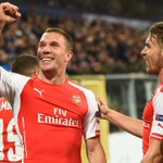 Super sub: Podolski celebrates his dramatic late winner for Arsenal against Anderlecht in Belgium this evening #UCL http://t.co/VtuMaafowU