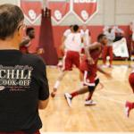 Coach @LonKruger making everyones mouth water @ practice, wearing his @ougphi Chili Cook-Off shirt. Event is tonite! http://t.co/SHaKNwGzTg