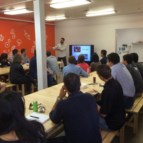 EAT Club Co-Founder Rodrigo Santibanez gives his Ten Tips For Bootstrapping Your Business at EAT Club HQ #newcoSV http://t.co/gbV487UTna