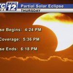 PASS IT ON: Partial Solar Eclipse tomorrow in Minnesota from 4:24 PM to sunset! Max eclipse at 5:36 PM. #SolarEclipse http://t.co/iPB3sbbG91