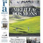 La espectacular foto que ha fet José Palazón de @PRODEINORG , portada del @diariARA de demà Melilla: dos mons http://t.co/WRTNJtEcB0