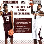 Basketball is back! Come out Friday night at 8pm for our annual Maroon & White Scrimmage! Admission is FREE! #12thMan http://t.co/p4p2pD9NZP