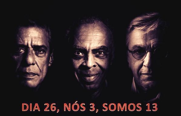 Chico, Gil e Caetano c/ Dilma! É mto amor e mta garra envolvidos! #13rasilTodoComDilma http://t.co/kpVXwk6F9D