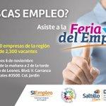 RT @DFESaltillo: #Trabajosihay te esperamos este 6 de noviembre a la Feria del Empleo #Saltillo en el Club de Leones de 9 am a 2 PM http://t.co/8r9QkTQwok