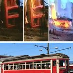 """60 yrs ago we burned our """"worthless"""" streetcars, yet CoV is shipping last surviving tram back to USA. Ugh. #vanpoli http://t.co/3ZqCyZgVG7"""