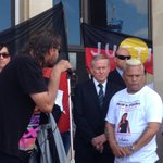 Premier Colin Barnett with protesters at Parliament speaking about deaths in custody @TenNewsPerth http://t.co/uH034krWLI