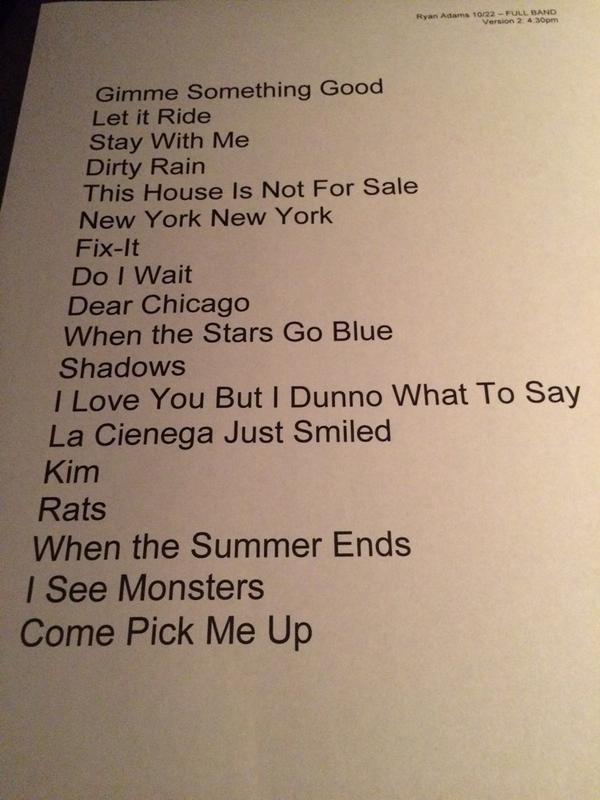 .@TheRyanAdams @acltv set list 2 of 2. Full electric band. #acltv40 http://t.co/VuoJuV2u3H