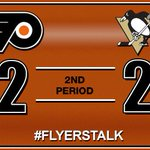 #Flyers get a bad bounce in front of their own net, and the #Penguins tie it back up: http://t.co/1YKvOfGw6I