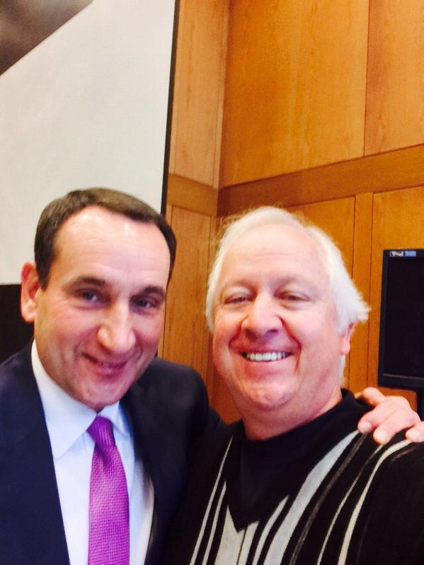 While we get a break in #WorldSeries a selfie with my favorite Coach @Duke_MBB http://t.co/YWHTwEJWZV