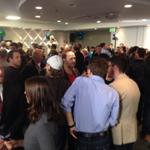 This is the scene at Brian Bowmans headquarters right now as supports watch results. #cbcmb http://t.co/yjjgD5XELm
