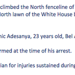 New statement from Secret Service. WH fence jumper IDd as Dominic Adesanya. Two SS dogs taken to vet for injuries. http://t.co/vovh0MyrAV