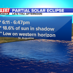 RT @ActionNewsJax: .@MikeFirstAlert will have details on a partial solar eclipse visible from Jax on Thu. at 11 & after baseball http://t.co/9cAKC87fZY