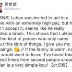 "[TRANS] 141023 A chinese director posted on her weibo about LUHAN.. ""Luhan is a very simple boy!"" ???? http://t.co/GnJWO3idpC"