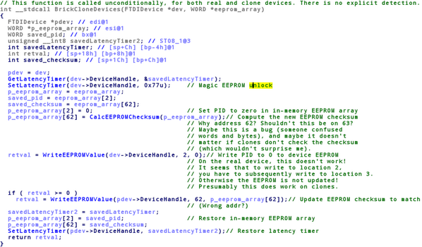 Here's how @FTDIChip's new driver is intentionally and maliciously bricking clones. http://t.co/87P12Mjco3