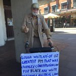 Just met Bill on George Street, hes made this sign in honour of Gough Whitlam http://t.co/Q4lLqQrvj3