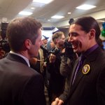 Robert-Falcon Ouellette shaking hands with Brian Bowman at Bowmans HQ #cbcmb http://t.co/I7CgciXoUf