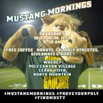 RT @CPMustangs: GET READY FOR #MustangMornings GRAB SOME COFFEE, DONUTS, AND CHAT WITH SOME CAL POLY ATHLETES! http://t.co/Va4rcvLWJN