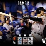 """@SFGiants: RECAP: #SFGiants fall to Royals in Game 2, #WorldSeries now tied at one apiece. http://t.co/BCb85QAPcN http://t.co/wUZY9nQhSO"""