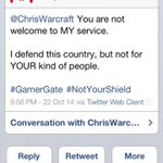 RT @ChrisWarcraft: Heres a #Gamergate servicemember telling me what he really thinks about US citizenship. http://t.co/PzZTK1xL2Y