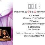 Nuestro próximo concierto será con Katia y Mirelle Labèque en @baluarte los días 30 y 31 de octubre. #imprescindible http://t.co/yK1zasuag5