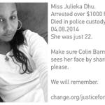 Stop ignoring Aboriginal deaths in custody. Miss Julieka Dhu, only 22. Arrested over $1000 fine. Died in custody. http://t.co/sh9p2FEKQb