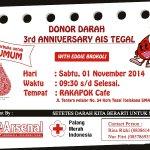 #eventTGL RT @AIS_TEGAL Donor darah bareng bang @eddibrokoli. Terbuka untuk UMUM. Yuk mari dondar! #BloodForLife http://t.co/yJeaNM3J6a
