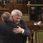 RT @londonlockie: We live in a great country: Harper and Mulcair hug in the House of Commons #cdnpoli http://t.co/AgWZta9zzC