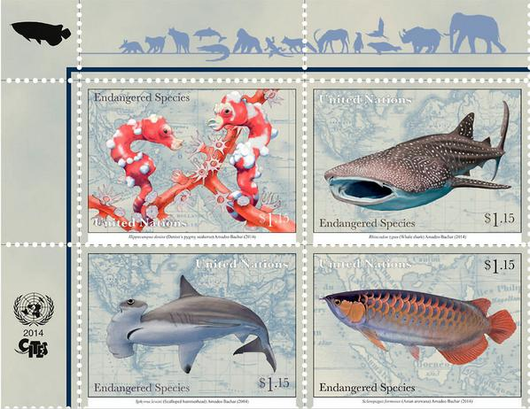 """""""@UN: New this week: endangered Species stamps highlighting @CITESconvention work http://t.co/w7cBxWlPgj http://t.co/mT81UNuBgL"""" @OCEARCH"""