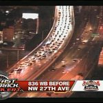 #TRAFFIC: Dolphin Expressway shutdown westbound at NW 27th Ave due to a multi-car crash, 1 in custody. Heavy delays http://t.co/sOmN7xmCXc