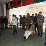 PM @narendramodi listening to Army officers on his visit to the Siachen Base Camp #ModiInKashmir