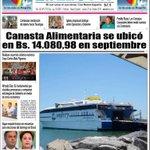 """Éxito de Maduro: """"Canasta alimentaria se ubicó en Bs. 14.080 en septiembre"""" 1ra plana Diario La Hora, Nueva Esparta http://t.co/qvyrMl7FmL"""