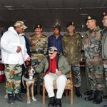 PM Shri @narendramodi with Officers and Jawans of Indian Army at Siachen Base Camp, during his surprise visit http://t.co/vT0BiOmcGU