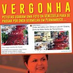 RT @_souaecio: Vergonha! Dilma mente novamente! Petistas usaram uma foto da venezuela para passar por onda vermelha em Pernambuco. http://t.co/3TR50j1zhp