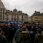 Just under six hours until kick-off and the main square in Lille is full of Evertonians. #EFC #BluesOnTour #COYB http://t.co/e7IlumLHLl