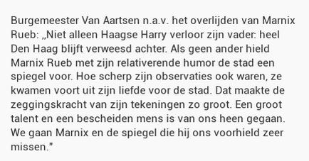 Burgemeester Van Aartsen n.a.v. het overlijden van Marnix Rueb: ,,Niet alleen Haagse Harry verloor z... http://t.co/75zgt7ybWk