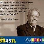 """""""Nós aqui de SP precisamos estar juntos com vocês todos, [...] contra essa podridão q está havendo no Brasil."""" FHC http://t.co/ktnyvnz4hc"""