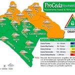 Mapa de alerta por lluvias en Chiapas, se mantiene la alerta Naranja http://t.co/grEm9nTOb9